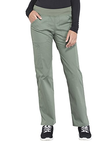 Cherokee WW Professionals WW170 Mid Rise Straight Leg Pull-On Pant Olive - Leg Straight Rise Mid