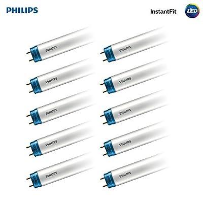 Philips 469585 LED Instantfit 4-Foot T8 Tube Light Bulb 1600-Lumen, 4000-Kelvin (32-Watt Equivalent), Medium Bi-Pin G13 Base, 10-Pack, Cool White (4000K)