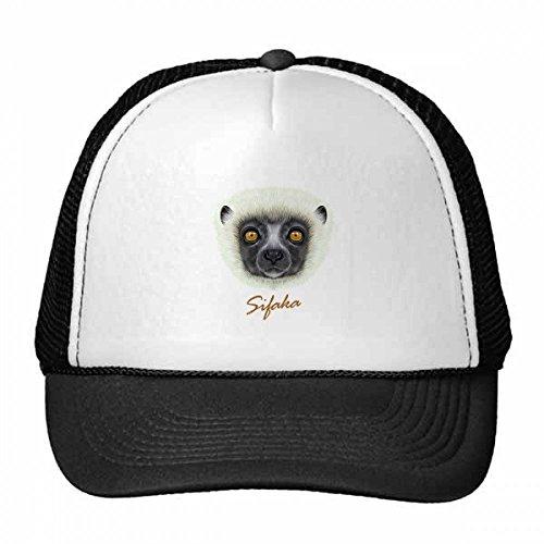White Fluffy Sifaka Monkey Animal Trucker Hat Baseball Cap Nylon Mesh Hat Cool Children Hat Adjustable Cap Gift