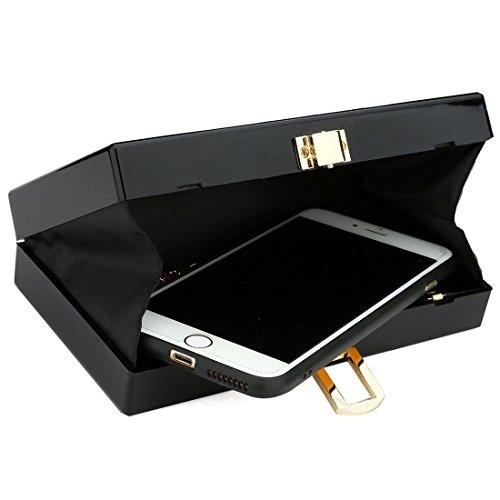 Bags Shoulder Acrylic Black Women Shape for Finger Purse Evening KNUS Handbag Clutch 1w8tqnBX
