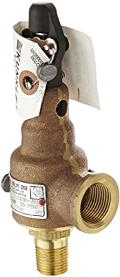"Kunkle 6010DCE01-AM0050 Bronze ASME Safety Relief Valve for Steam, EPR Soft Seat, 50 Preset Pressure, 1/2"" NPT Male Inlet x 3/4"" NPT Female Outlet from Tyco Valves & Controls"