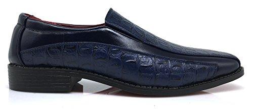 Tor04 Mens Alligator Krokodil Utskrifts Oxfords Loafers Mode Slip På Klänning Skor Marinblått