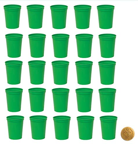 Stadium Cups, Pack of 25, Blank 16 oz Plastic Cups (Green) ()
