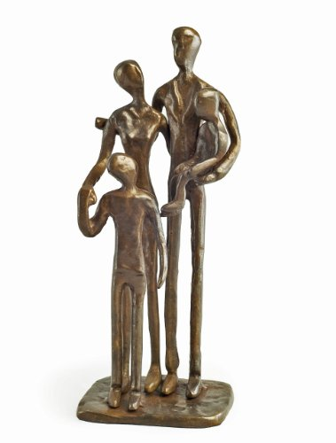 - Danya B ZD1152 Sand Casted Metal Art Bronze Sculpture Family of Four - Lined with Velveteen