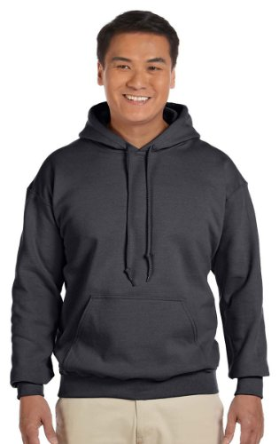 Gildan Men's Heavy Blend Drawcord Hooded Sweatshirt, Large, Charcoal