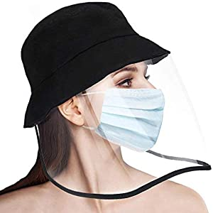 PISIQI Protective Face Shield Sun Hat Full-face Facial Cover Transparent Cap Safety Face Shield Protective Bucket Hat…