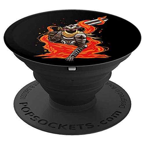 Evil Fire Knight with Flaming Eyes and Twin Blade Sword PopSockets Grip and Stand for Phones and Tablets (Mount And Blade With Fire And Sword)