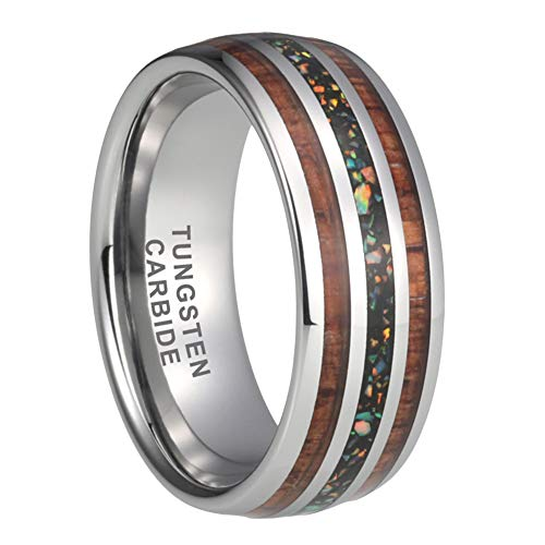 iTungsten 8mm Mens Tungsten Rings Womens Wedding Bands Colorful Opal Chip Koa Wood Inlay Domed Polished Shiny Comfort Fit Blue Opal Inlay Ring