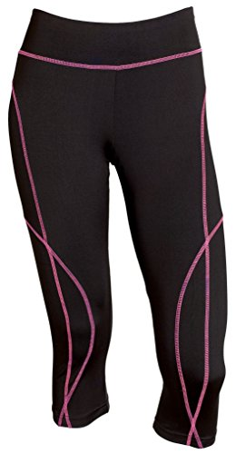 Sportoli Women Active Workout Compression Base Layer Capri Leggings Tights Pants - Black/Neon Pink (Small)