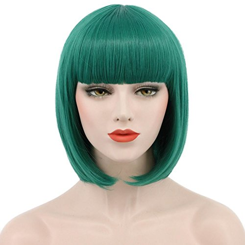 Karlery Women Short Straight Bob Fasion Wig Flat Bangs Cosplay Party Wig Costume Halloween Wig -