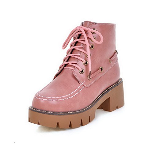 AllhqFashion Womens Solid Kitten-Heels Round Closed Toe PU Lace-Up Boots Pink PgRKh