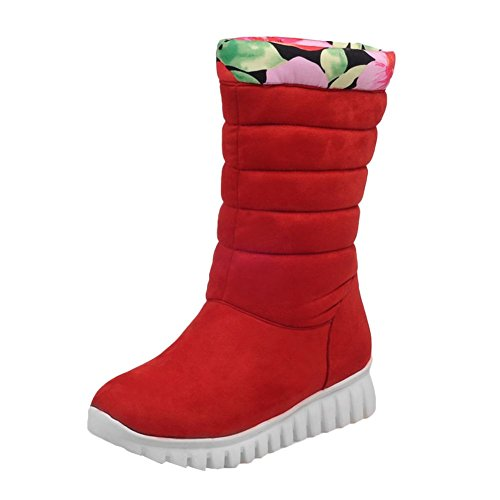 Carolbar Womens Plus Size Warm Comfort Wedge Heel Short Snow Boots Red sqY9T