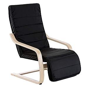 HOMCOM Fauteuil Luxe Confort et Relaxation avec Repose-Pied réglable déhoussable 81 x 67 x 100 cm Bois Massif Noir