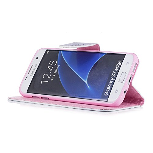 Samsung Galaxy S7 Edge Hülle, Chreey PU Leder Schutzhülle mit Blau Schmetterling Muster Bumper Flip Wallet Case Handyhülle Kätzchen