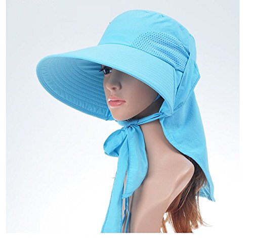 AUCH Adjustable Quick-drying Outdoor UV Spf 50+ Large Brim Visor/Boonie/Sand Beach Sun Hat with Net Protection for Women w/ Horsetails(Blue)