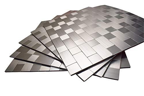 "Aluminum Peel and Stick Wall Tile, Remodel Stick Tile,Metal Backsplash for Kitchen and Bathroom, Waterproof Back Splash, Easy to Clean (12""×12"" Self-Adhesive Tile 5 Sheets)"