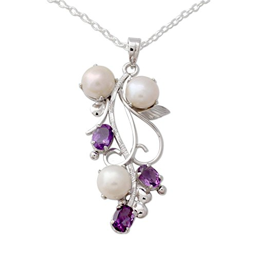 NOVICA Cream Cultured Freshwater Pearl Amethyst Rhodium Plated Silver Necklace, 18