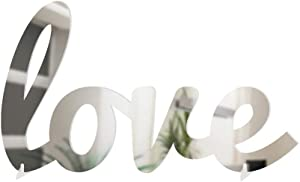 4ArtWorks - 3D Cursive Love Table Decor (Silver Mirror Finish) for Dorm Rooms, Living Spaces, Bedrooms and Modern Offices & Desks | Love Script Sign with Transparent Acrylic Base | Great Gift Idea