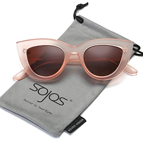 SOJOS Retro Vintage Cateye Sunglasses for Women Plastic Frame Mirrored Lens SJ2939 with Pink Frame/Brown -