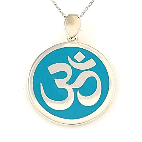 Clean Turquoise Silver Jewelry - Sterling Silver Turquoise Round OM OHM AUM Sanskrit Symbol Yoga Pendant Necklace 16+2 inches Chain