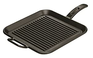 Lodge P12SGR3 Pro-Logic Cast Iron Square Grill Pan, Pre-Seasoned, 12-inch