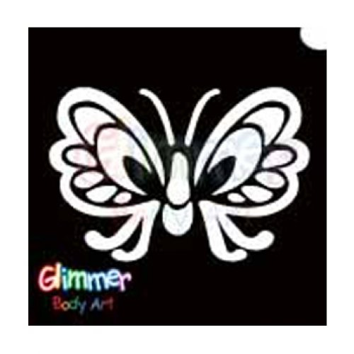 Glimmer Body Art Glitter Tattoo Stencil - Butterfly
