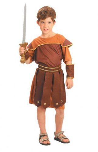 Boys Fancy Dress Costume Roman Soldier Small Toga Party Rome Sparticus