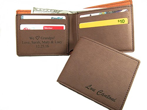Personalized Leather Bifold Wallet Monogrammed Custom Mens Wallet Gift Brown