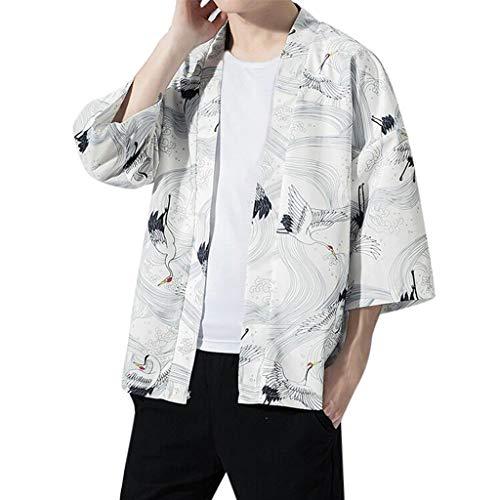 LISTHA 3/4 Sleeve Floral Cardigan Shirts Men's Summer Printed Loose T-Shirt Tops White