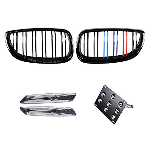 Glossy Black M-Color Double Line Kidney Grille with Tow Hook Mounting Bracket and Carbon Fiber Side Marker Compatible with BMW 2007-2010 E92 E93 328i 335i 2-Door Pre-Facelift Coupe Convertible