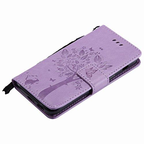 Yiizy Samsung Galaxy A3 (2017) / A320F Custodia Cover, Albero e Gatti Goffratura Design Sottile Flip Portafoglio PU Pelle Cuoio Copertura Shell Case Slot Schede Cavalletto Stile Libro Bumper Protettiv