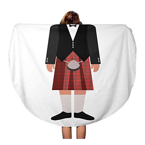 Pinbeam Beach Towel Flat Scotsman in Red Kilt Skirt and Black Travel 60 inches Beach Blanket ()