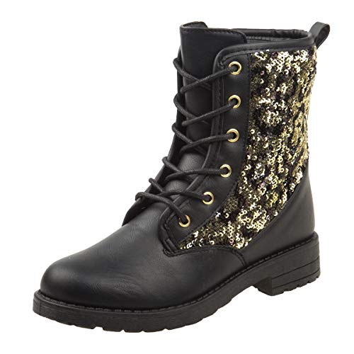 Kensie Girl Mid Shaft Combat Style Boot, Black Sequins, 11 M US Little Kid' ()