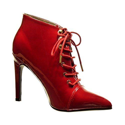 5 Stiletto Stiletto Ankle Heel High Shoes Sexy Red Angkorly Boots cm Metallic Fashion Low Boots Booty Women's Patent 10 qWS66Ywna