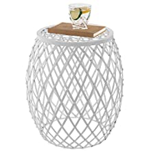 MyGift 18-inch Gardens Collection Lattice Design White Metal Garden Stool/Decorative Display Side Table/Patio End Table