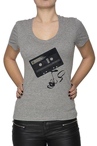 Cassette Audio Gris Coton Femme V-Col T-shirt Manches Courtes Grey Women's V-neck T-shirt