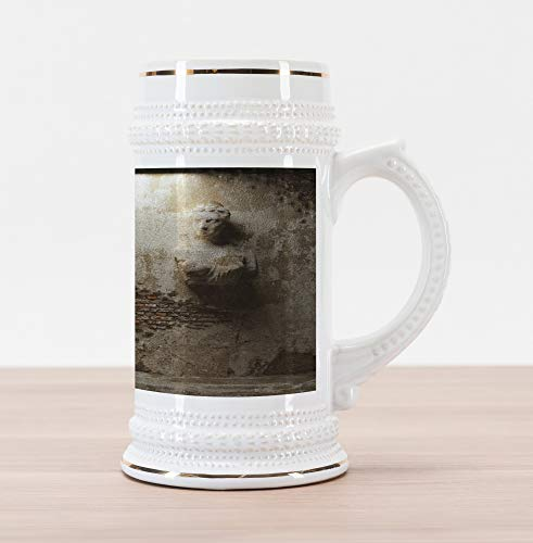 (Lunarable Sculptures Beer Stein Mug, Aged Cculptures Stonewall Rusty Dark Cellar Ancient Stonemasonry Print, Traditional Style Decorative Printed Ceramic Large Beer Mug Stein, Warm Taupe Orange)
