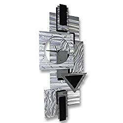 Statements2000 All Natural Silver Functional Abstract Metallic Clock Sculpture - Modern Contemporary Office Home Decor Art Accent - Dynamic Notions II by Jon Allen - 37-inch