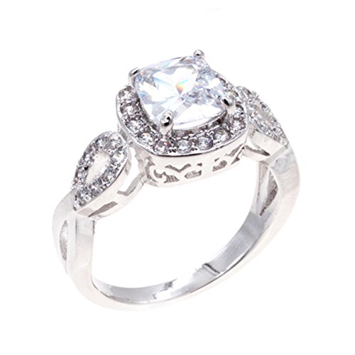 - Lavencious Square CZ Rings Wedding Party Statement Cocktails Gold Plated Size 5-10 (Clear, 7)