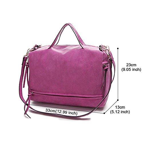 Cross Bag handle Mufly Purse PU Blue body Top Rose Dark Women 6AwT0qE