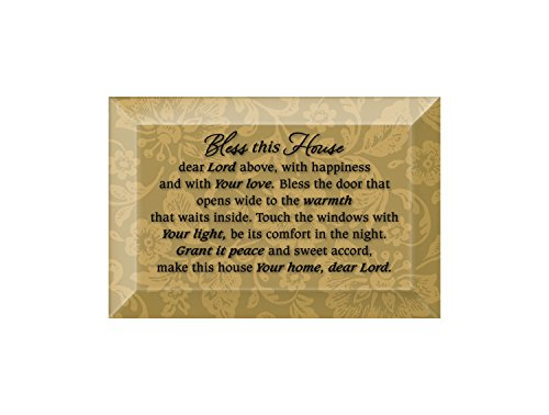 Glass Plaque Beveled (Bless This House Beveled Glass Plaque with Easel)