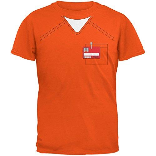Prisoner Uniform Costume Orange Adult T-Shirt - Small