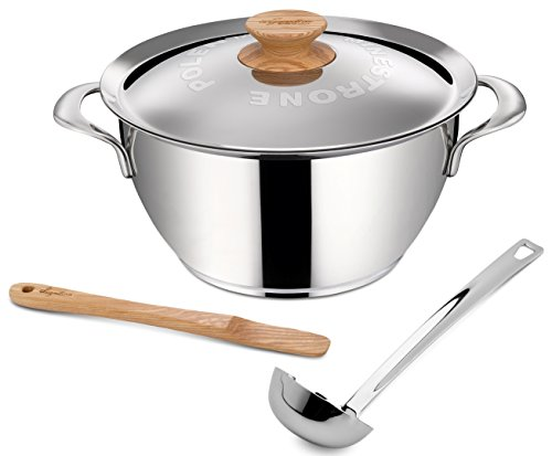 Lagostina Q55102 Minestrone Polenta Stainless Steel Dishwasher Safe Stewpot Cookware, 5-Quart, Silver by Lagostina