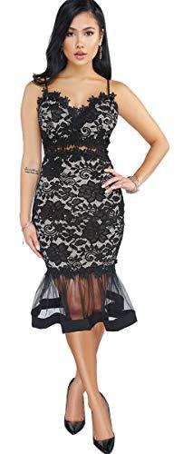 Womens Sexy Sleeveless Deep V Neck Lace Mesh Paneled Ruffles Bodycon Party Clubwear Dress Black