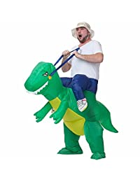 FSMY Inflatable Dinosaur Halloween Costume Fancy T-REX Party Dress Props for Adult