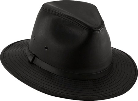Henschel Hats SAFARI Smooth Garment LEATHER Lined Fedora Hat Black (Medium) 8ab227c16741