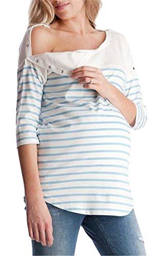 A Maglietta con Bluse Shirt Femminili Blue Manica Donna T Pulsante Top L'Allattamento Eleganti Comoda Premaman Gravidanza Mezza Casual Top Classico Tayaho Righe zqUvOTU