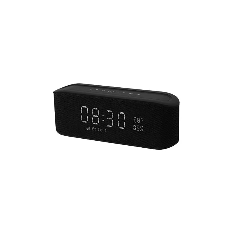 Resonus Wireless 4.2 Speaker with Radio, 2 Alarm Clock, Snooze, Stereo Sound, Enhanced Bass, Aux in, TF Card Slot, LED Display Time/Thermometer, 33 ft Bluetooth Range Portable Speaker Black