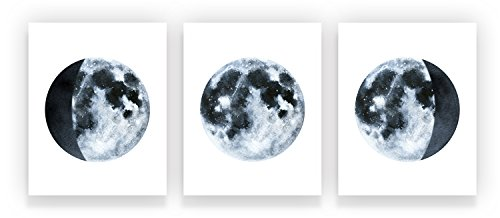 Holmkell Set of 3 Moon Phases Cosmic Decor Posters 8 x 10 Inches Watercolor Wall Art Lunar Space Small Unframed Prints