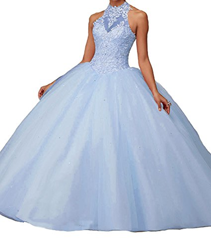 Women's Lace Pageant Quinceanera Dresses Ball Gown Puffy Halter Prom Evening Gowns Sky Blue Size 2